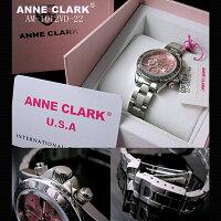 【腕時計】ANNECLARKアンクラークレディースクロノグラフピンク文字盤[AM-1012VD-22]メタルベルト腕時計