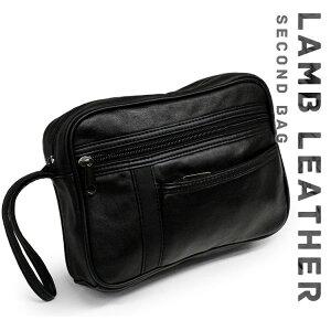 持ち手付きのシンプルなセカンドバッグ SGR-05 メンズ セカンドバック クラッチバッグ セカンドバック 羊革 ブラック 黒 おしゃれ 通販