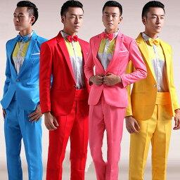 ステージ衣装 ステージスーツ カラースーツ セットアップ メンズ ドレスアップスーツ パーティ 司会 カラオケ ジャケット 結婚式 演出 ステージ衣装 ブルーピンク イエロー グリーン レッド M L XL 2XL