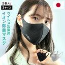 日本製 ウイルス除去 イオン除菌マスク 2枚入 洗える立体マ