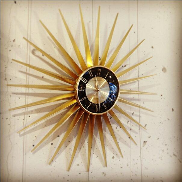 壁掛け時計 【送料無料】Emits Time エミッツタイム 時計 ウォールクロック 掛け時計 デザイン 太陽 金 ゴールド モダン ミッドセンチュリー アンティーク レトロ おしゃれ ディスプレイ