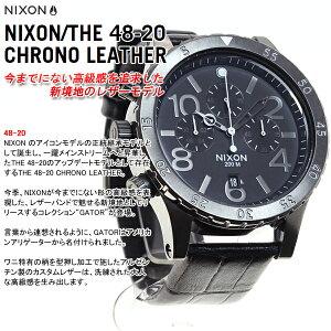 ニクソンNIXON48-20クロノレザー48-20CHRONOLEATHER腕時計メンズクロノグラフブラックゲーターNA3631886-00