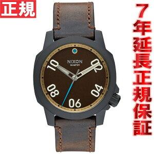ニクソンNIXONレンジャー40レザーRANGER40LEATHER腕時計メンズ/レディースオールブラック/ブラス/ブラウンNA4712209-00
