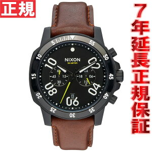 ニクソンNIXONレンジャークロノレザーRANGERCHRONOLEATHER腕時計メンズクロノグラフオールブラック/ブラウンNA940712-00