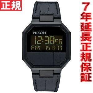 ニクソンNIXONリランレザーRE-RUNLEATHER腕時計メンズブラッククロコデジタルNA944840-00