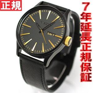 ニクソンNIXONセントリーレザーSENTRYLEATHER腕時計メンズマットブラック/ゴールドNA1051041-00