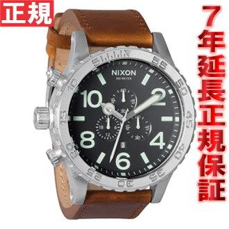 Nixon NIXON 51-30 CHRONO LEATHER leather】all watch mens black / saddle chronograph NA1241037-00