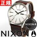 ニクソンNIXONセントリーレザーSENTRYLEATHER腕時計メンズシルバー/ブラウンNA1051113-00【NIXONニクソン2011新作】【正規品】【楽ギフ_包装】
