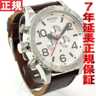 Nixon NIXON 51-30 Chrono leather】all 51-30 CHRONO LEATHER watch men's chronograph silver / Brown NA1241113-00