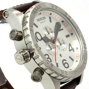 ニクソン51-30クロノレザーNIXON51-30CHRONO腕時計メンズクロノグラフシルバー/ブラウンNA1241113-00