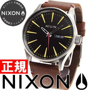 ニクソンNIXONセントリーレザーSENTRYLEATHER腕時計メンズブラック/ブラウンNA105019-00