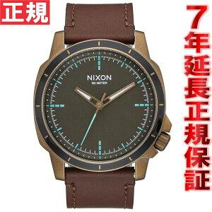 ニクソンNIXONレンジャーOPSレザーRANGEROPSLEATHER腕時計メンズブラス/ブラウンNA9142373-00