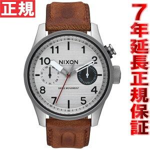 ニクソンNIXONサファリデラックスレザーSAFARIDELUXELEATHER腕時計メンズシルバー/ブラウンNA9771113-00