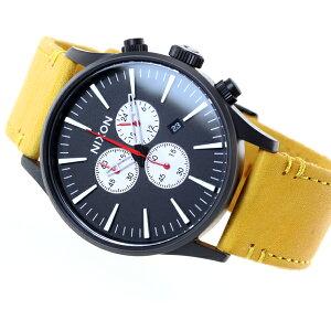 ニクソンNIXONセントリークロノレザーSENTRYCHRONOLEATHER腕時計メンズクロノグラフオールブラック/ゴールデンロッドNA4052448-00【2016新作】【対応】【即納可】