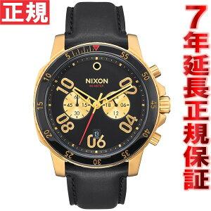 ニクソンNIXONレンジャークロノレザーRANGERCHRONOLEATHER腕時計メンズクロノグラフゴールド/ブラックNA940513-00【2016新作】