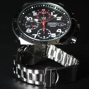 セイコー逆輸入クロノグラフブラックSEIKO腕時計メンズSND375