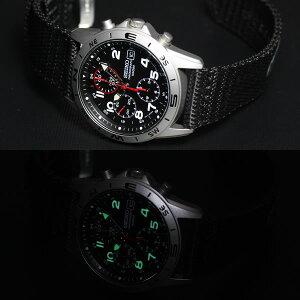 セイコーSEIKO逆輸入クロノグラフブラック腕時計メンズSND399P1