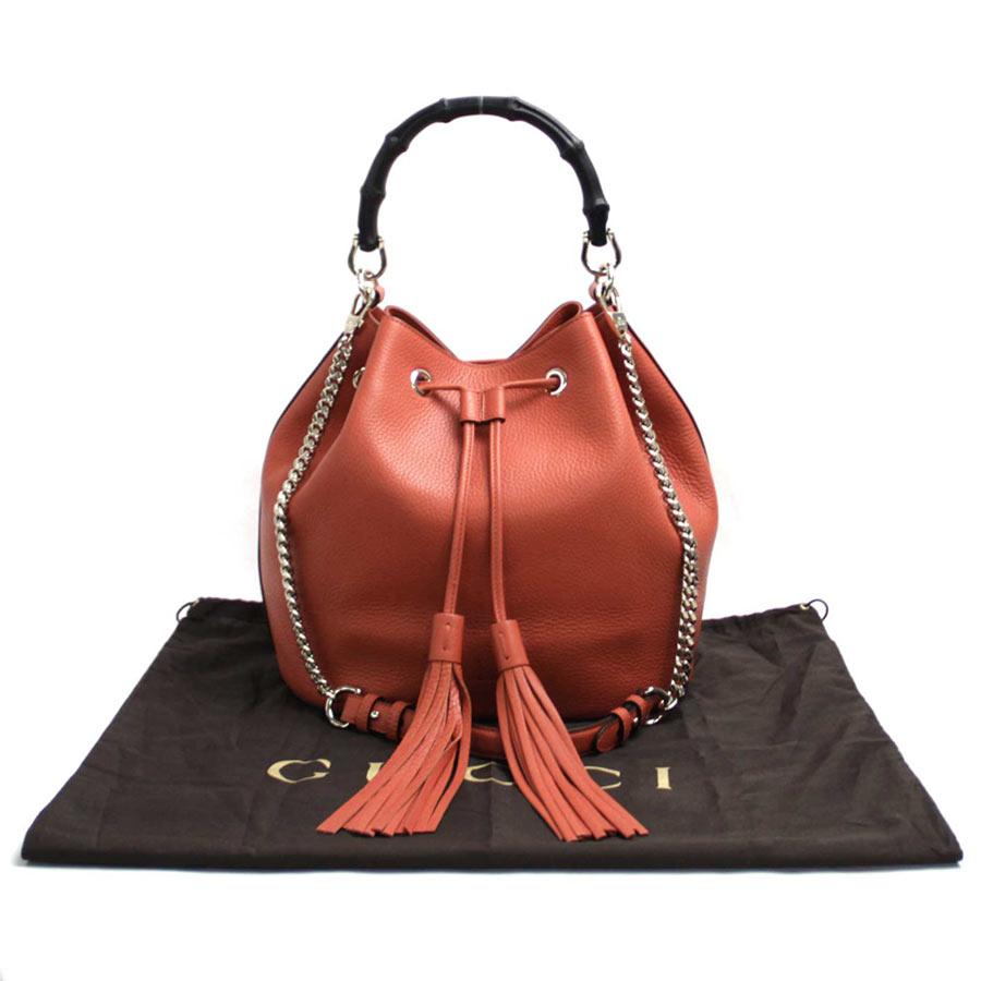 【訳あり】【新品】グッチ Gucci 2Wayバッグ バンブー タッセル オレンジ レザーxゴールド金具 ハンドバッグ ショルダーバッグ レディース 387613 新品- b10127:ブランドバリュー