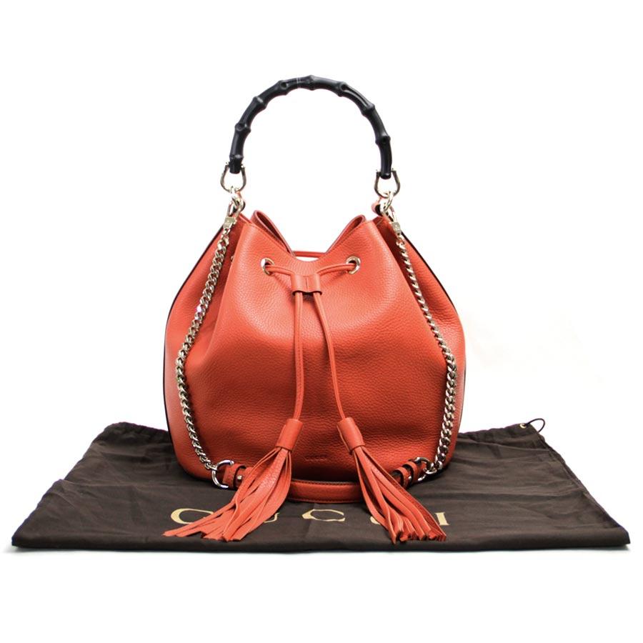 【展示品】【新品】グッチ Gucci 2-Wayバッグ バンブー タッセル オレンジ レザーxゴールド金具 ハンドバッグ ショルダーバッグ レディース 387613 新品- b10182:ブランドバリュー