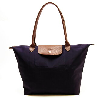 Longchamp LONGCHAMP shorudabaggutotobagguru·puriaju◆dakupapuru x棕色尼龍x皮革◆經典的受歡迎的◆女士-t11587