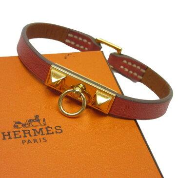 エルメス HERMES ブレスレット メドール ブラウンxゴールド レザー 【中古】【定番人気】 - h21559