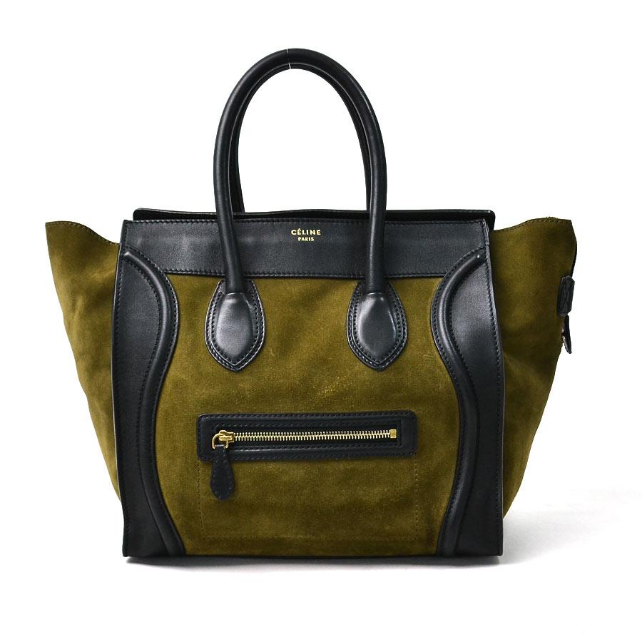 セリーヌ CELINE ハンドバッグ ラゲージ ◆カーキxブラック レザーxスエードxゴールド金具◆おすすめ【中古】 ◆レディース - 92597:ブランドバリュー