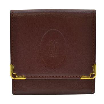 カルティエ コインケース マストライン ボルドーxゴールドカラー レザーx金属素材 Cartier レディース メンズ 【中古】【定番人気】 - k8016