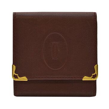カルティエ Cartier コインケース マストライン ◆レザー カーフ◆定番人気【中古】小銭入れ ◆レディース メンズ - k7775