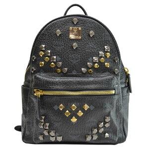MCM MCM袋Stark侧钉黑色x金色x银色皮革x金属材质背包女士们[二手] [受欢迎] --k9553c