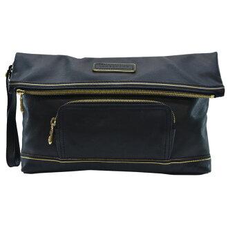 Longchamp LONGCHAMP離合器袋◆黑色x黄金彩色皮革◆經典的受歡迎的第二包◆女士-k7875