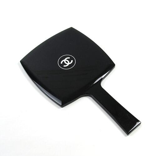シャネル CHANEL 手鏡 ミラー ココマーク ◆ブラックxホワイト プラスチック ◆ノベルティ...