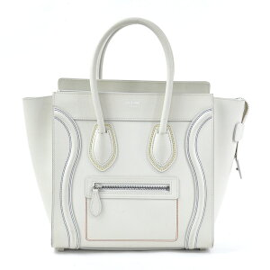 Celine Handbag Luggage Micro Shopper Cream White Leather x Silver Hardware CELINE Ladies 177913 Free Shipping [Used] [Classic Popular]-98030b