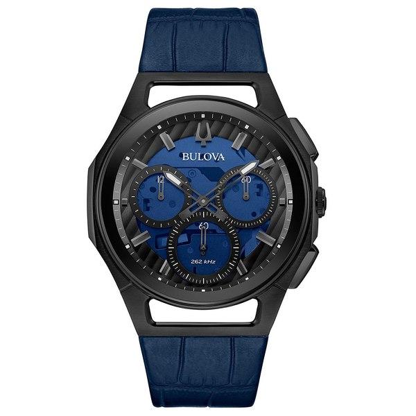 腕時計, レディース腕時計  Mens Progressive Sport Blue Leather Strap Watch 44mm Blue