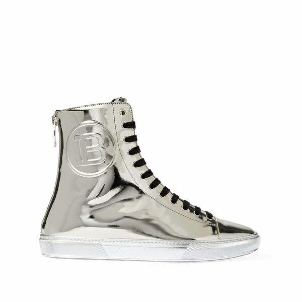 バルマン メンズ スニーカー シューズ Mirror Leather Hightop Sneaker Dark Silver画像