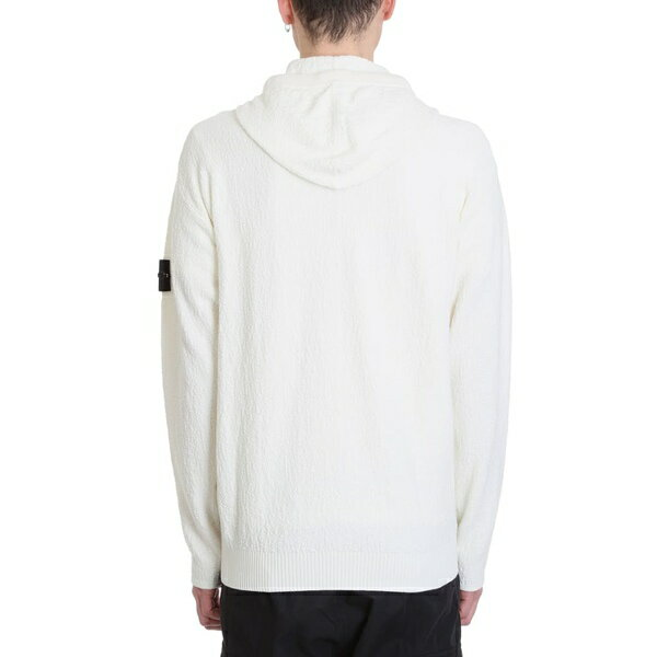 ストーンアイランド メンズ パーカー・スウェットシャツ アウター Stone Island White Cotton Hoodie white