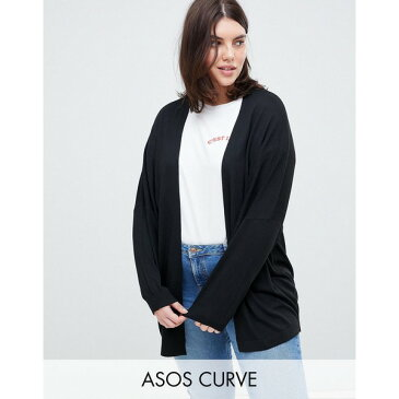 エイソス レディース カーディガン アウター ASOS DESIGN Curve eco cardigan in oversize fine knit Black