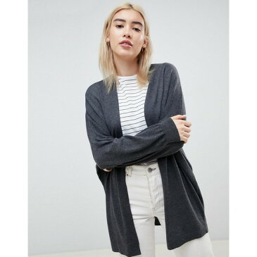 エイソス レディース カーディガン アウター ASOS DESIGN eco cardigan in oversize fine knit Charcoal