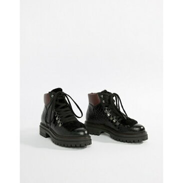 カートジェイガーロンドン レディース ブーツ&レインブーツ シューズ Kurt Geiger Regent black printed leather croc effect flat lace up ankle boots Black