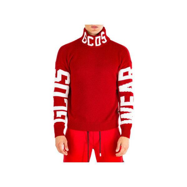 ジーシーディーエス メンズ ニット&セーター アウター GCDS Polo Neck Turtleneck Jumper Sweater Rosso