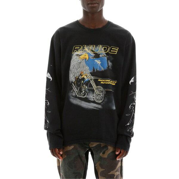 ルード メンズ カットソー トップス Rhude Printed T-shirt BLACKBlack
