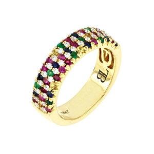 ボニー レヴィ レディース リング アクセサリー El Mar 18K Yellow Gold Pave Rainbow Stone Wide Band Ring 18KY