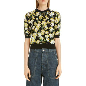 Loewe Ladies Cut & Sew Tops Daisy Jacquard Crop Sweater Black/Yellow