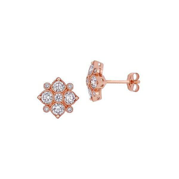 ソナティナ レディース ピアス&イヤリング アクセサリー 14K Rose Gold and 1 TCW Diamond Floral Stud Earrings Rose Gold