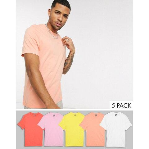 エイソス メンズ Tシャツ トップス ASOS DESIGN 5 pack organic t-shirt save Multi