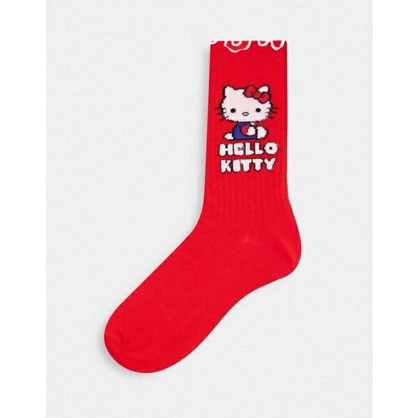 靴下・レッグウェア, 靴下  ASOS DESIGN Hello Kitty calf length rib socks in red Red
