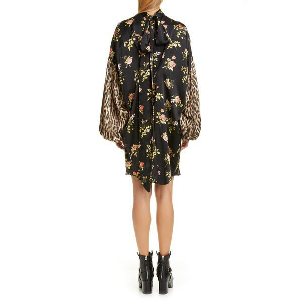 アールサーティーン レディース ワンピース トップス R13 Mixed Print Long Sleeve Tie Neck Silk Dress Black Floral W/ Leopard