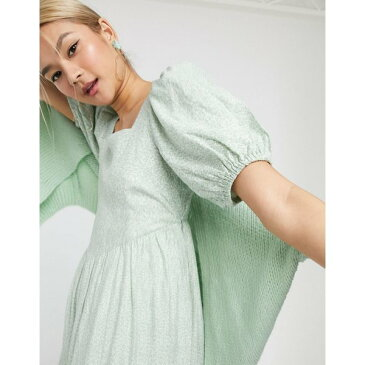 アンドアザーストーリーズ レディース ワンピース トップス & Other Stories vintage floral puff sleeve midi dress in sage green Flower