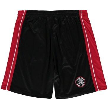 マジェスティック メンズ ハーフ&ショーツ ボトムス Toronto Raptors Majestic Big & Tall Birdseye Shorts Black/Red