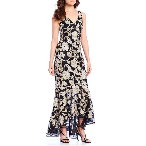 スーツ・セットアップ, ワンピーススーツ  V-Neck Hi-Low Ruffle Hem Floral Sequin Gown Black Multi