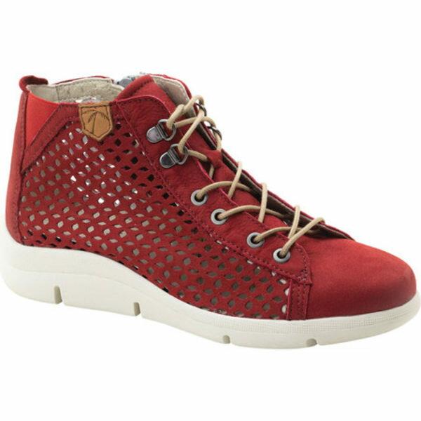 レディース靴, スニーカー  Victoria Perforated High Top Sneaker Red Leather